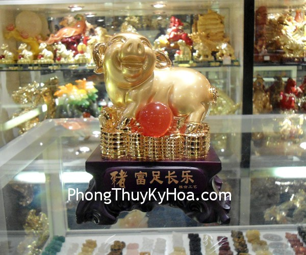 heo phu tuc truong lac031 Feng shui overgild stone powder Pig Y313