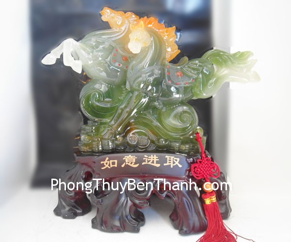 song ma xanh ngoc y214 01 Feng shui colored stone powder Horses Y214