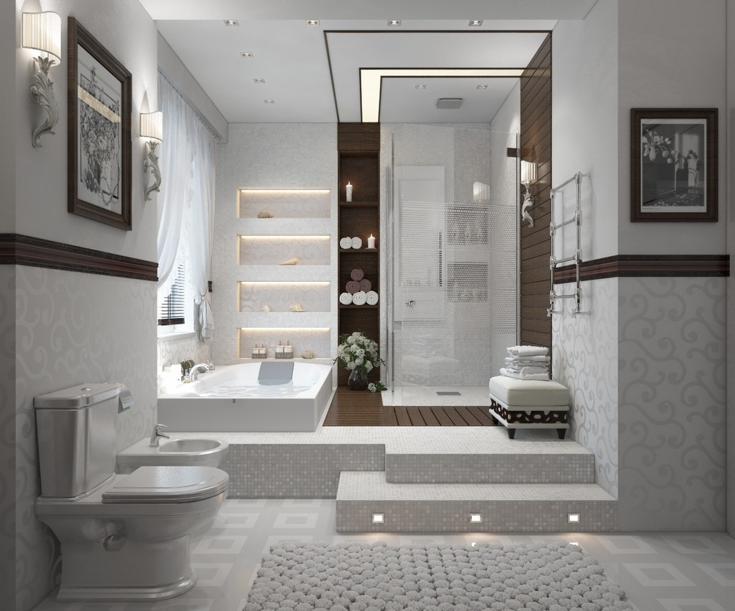 Contemporary bathroom in white Remedy feng shui of a bathroom over the main door in your house