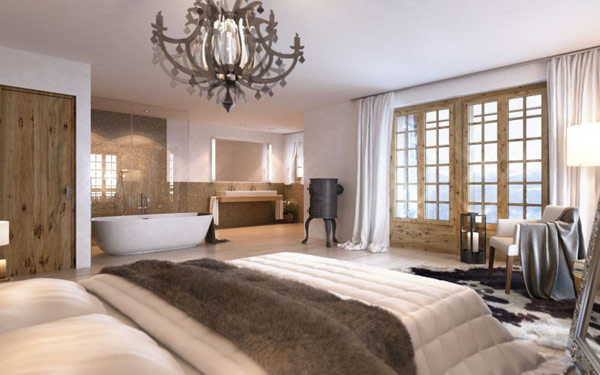 Exciting Details Bergwelt Development Home Open Bathroom and Bedroom in Traditional Showing Classic Chandelier Design Over the Bed How to neutralize feng shui of a bathroom over the bedroom?